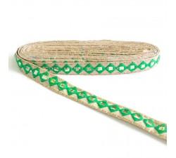 Bordado Pasamaneria bordada con espejos - Verde - 25 mm