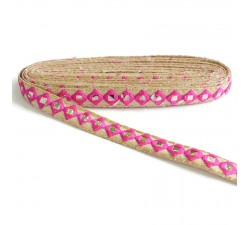 Embroidery Mirrors braid - Pink - 25 mm
