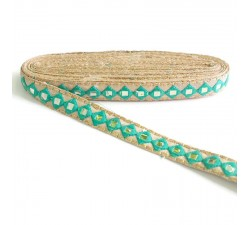 Embroidery Mirrors braid - Green sea - 25 mm