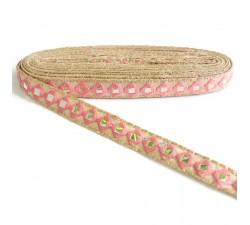 Bordado Pasamaneria bordada con espejos - Rosa claro - 25 mm