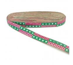 Galónes Bordado de lentejuelas verde y rosa - 25 mm