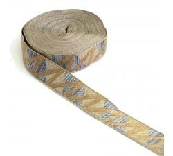Ribbons Zig zag grey woven ribbon - 30 mm