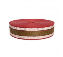 Sangles  Sangle plastique recyclé rouge - Chevron - 55 mm  babachic