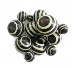 Stripes Wooden beads - Stipes - Black and white Babachic by Moodywood