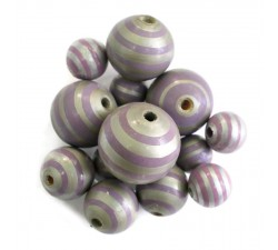Stripes Wooden beads - Stipes - Silver and purple Babachic by Moodywood