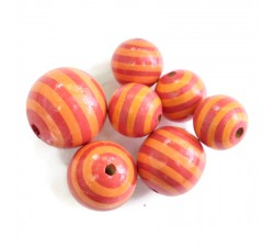 Stripes Wooden beads - Stipes - Orange Babachic by Moodywood