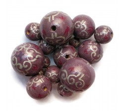 Royal Royal wooden beads - Plum Babachic by Moodywood