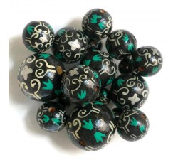 Royal Royal wooden beads - Black and white Babachic by Moodywood