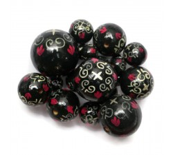 Royal Royal wooden beads - Black and pink Babachic by Moodywood