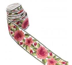 Broderies Bordure Fleurie, fil de soie - Vieux rose - 55 mm babachic