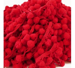 Les moyens Galon Pompons - Rouge - 25 mm babachic