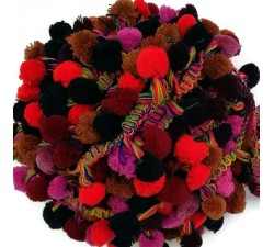 The big ones Pompom braid XL - Red, brown, pink, night blue and burgundy - 45 mm babachic