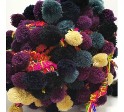 The big ones Pompom braid XL - Grey, beige, black and eggplant - 45 mm babachic