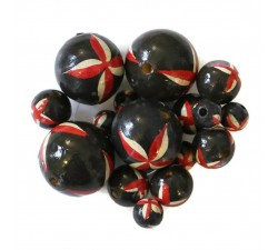 Flowers Wooden beads - Starfish - Black and red Babachic by Moodywood