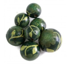 Flowers Wooden beads - Peltée - Dark green Babachic by Moodywood