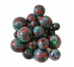 Flowers Wooden beads - Hibiscus - Grey and red Babachic by Moodywood