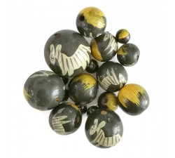 Animals Wooden beads - Zebra - Grey and yellow Babachic by Moodywood