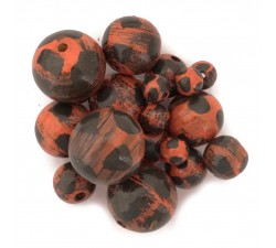 Moon Wooden beads - Moon - Orange and black Babachic by Moodywood