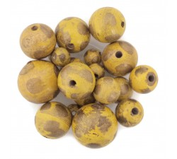 Moon Wooden beads - Moon - Yellow and gold Babachic by Moodywood