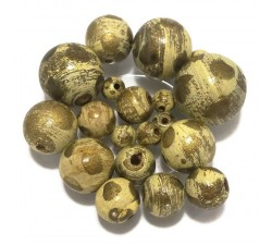 Moon Wooden beads - Moon - Pale yellow and gold Babachic by Moodywood