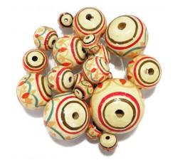 Lanterne Perles en bois Lanterne - Blanc, rouge, orange Babachic by Moodywood