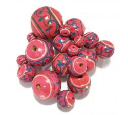 Lantern Lantern wooden beads - Pink Babachic by Moodywood