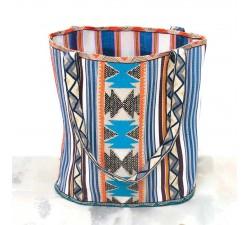 Broderies Bordure Graphique - Bleu, noir et orange - 90 mm babachic