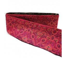 Broderies Bordure brodée de motifs Cachemire roses et noirs - 90 mm babachic