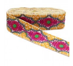 Broderies Passementerie Jacquard - Jaune, rouge, rose, vert - 80 mm Babachic by Moodywood