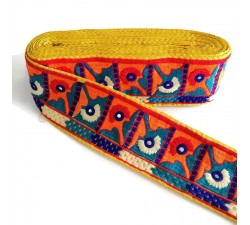 Bordado Cinta Etnica - Amarillo, naranja, rojo, azul - 75 mm Babachic by Moodywood