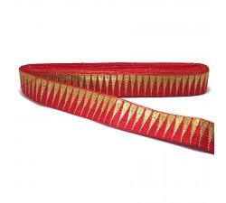 Galons Bordure rouge avec des fils dorés en forme de pics - 30 mm Babachic by Moodywood