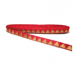 Braid Red ribbon with golden triangles - 15 mm Babachic by Moodywood