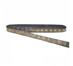 Braid Grey ribbon with golden triangles - 15 mm Babachic by Moodywood