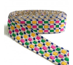Embroidery Embroidered braid - Mosaic - Pink, green, yellow, white and yellow - 65 mm babachic