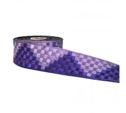 Broderies Large galon tissé en forme de pixels lila et violet - 65 mm de largeur babachic