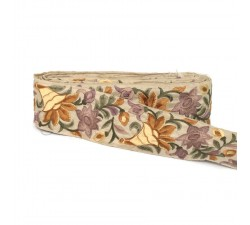 Embroidery Sewing border in beige and brown silk - 65 mm of width babachic