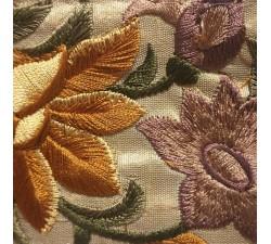 Bordado Borde de costura de seda beige y marrón - 65 mm de ancho babachic