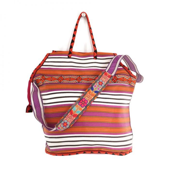 Big magenta and orange color beach bag