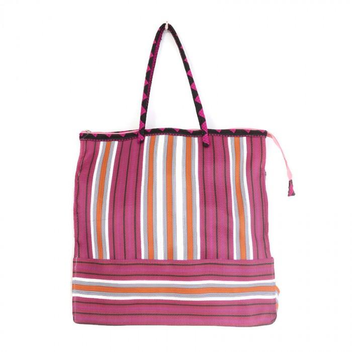 Fuchsia and orange square classic tote bag