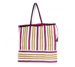 Bags Fuchsia, yellow and white square classic tote bag Babachic by Moodywood