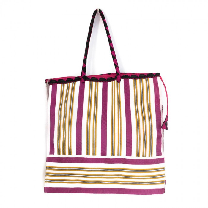 Tote bags Fuchsia, yellow and white square classic tote bag Babachic by Moodywood