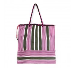 Tote bags Cabas classique carré rayures rose et vert Babachic by Moodywood