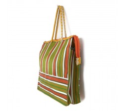 Tote bags Cabas classique carré rayures orange et vert Babachic by Moodywood