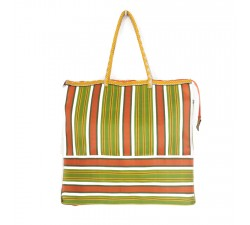 Green and orange square classic tote bag