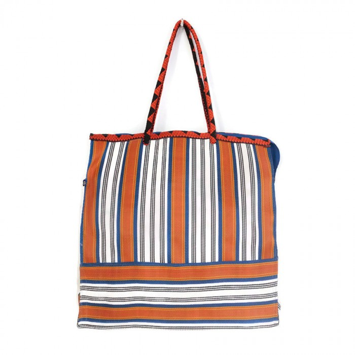 Tote bags Blue and orange square classic tote bag Babachic by Moodywood