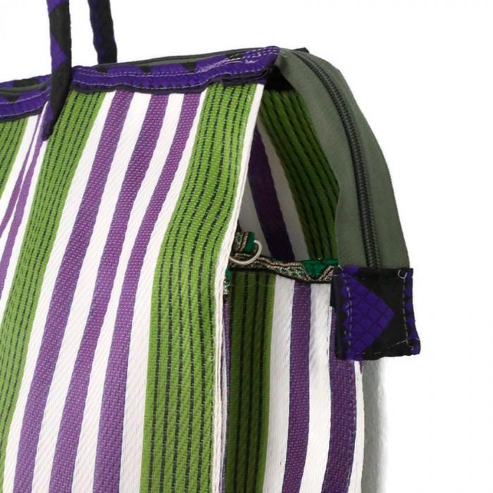 Green and purple square classic tote bag