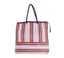 Tote bags Bolsa clásica reciclada con rayas rosa, naranja y morada Babachic by Moodywood