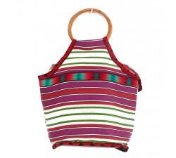 Bamboo bag Small green and pink Bamboo handbag Babachic by Moodywood
