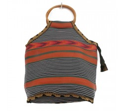 Bamboo bag Small orange and black Bamboo handbag Babachic by Moodywood