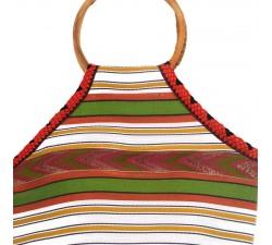 Bamboo bag Small orange and green Bamboo handbag Babachic by Moodywood